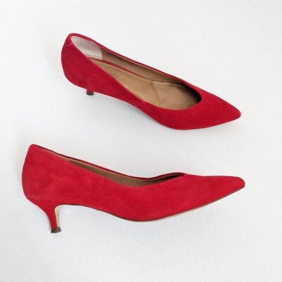 Kit Josie Red Suede Kitten Heel Pumps